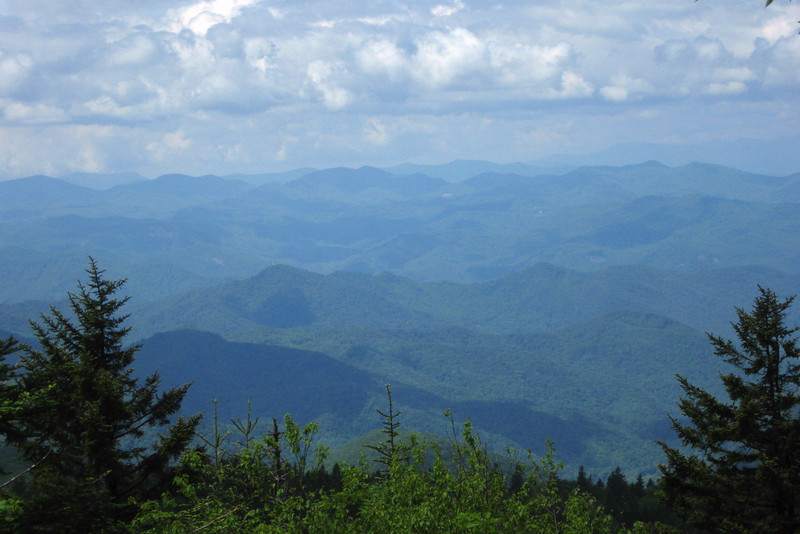 As the Richland Balsam Trail loops around the west side of the summit a nice, small opening in the trees offers a beautiful view of countless rolling hills stretching away to the distant Smoky Mountains...