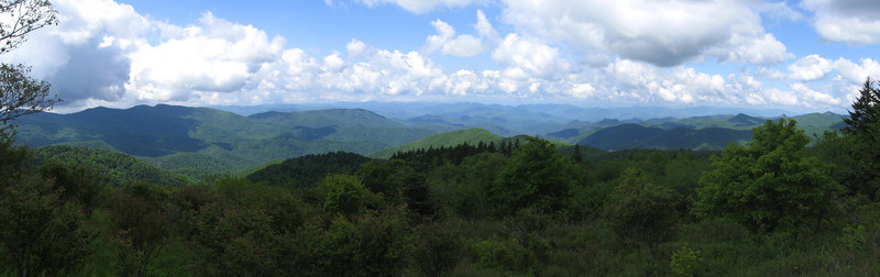 The breathtaking panorama south from the Cowee Mountain Overlook along the Parkway...