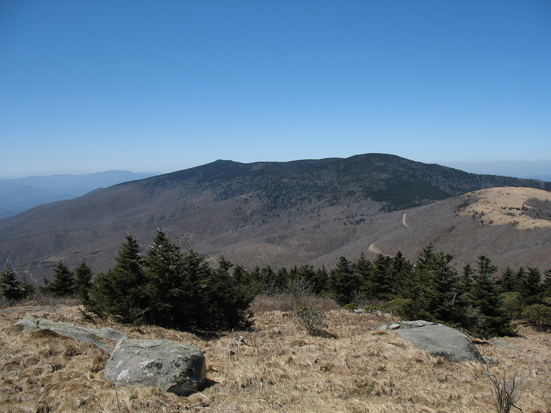 This shot is from the summit of Grassy Ridge Bald. The two summits of the Roan Massif rise beyond Round Bald.