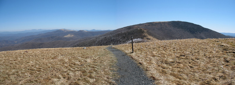 Looking ahead from Round Bald to my next objective, Grassy Ridge Bald.