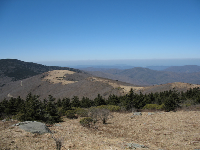 Looking back...from left to right is Roan High Knob, Round Bald, and Jane Bald.