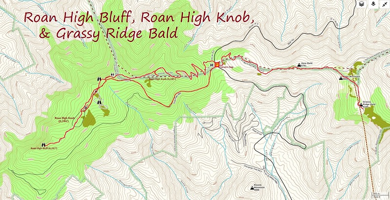 Roan Highland 6K'ers Hike Route Map