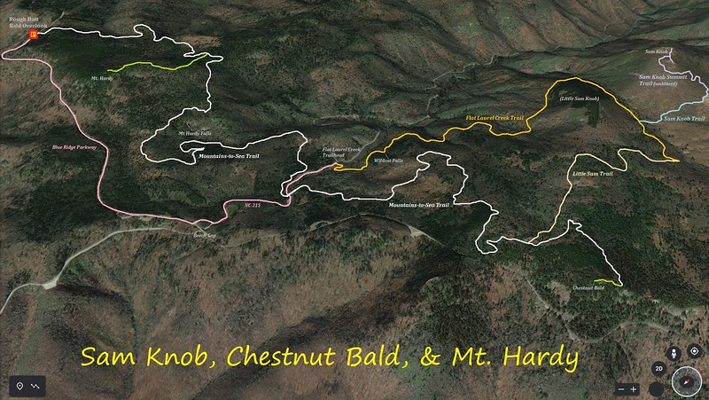 Sam Knob, Chestnut Bald, & Mt. Hardy Hike Route Map
