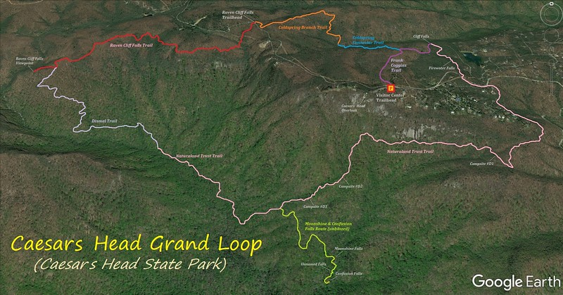 Caesars Head Grand Loop Hike Route Map