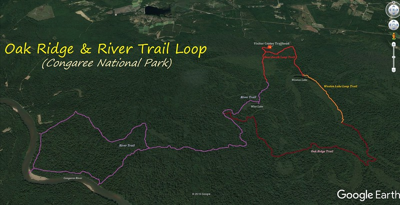 Congaree Hike Route Map