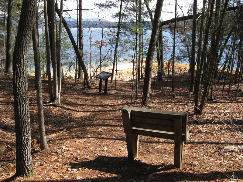 At the point where the trail turned back away from the lake an interpretive sign describes what was lost in the construction of the lake and a bench is located nearby for contemplation or just a rest...