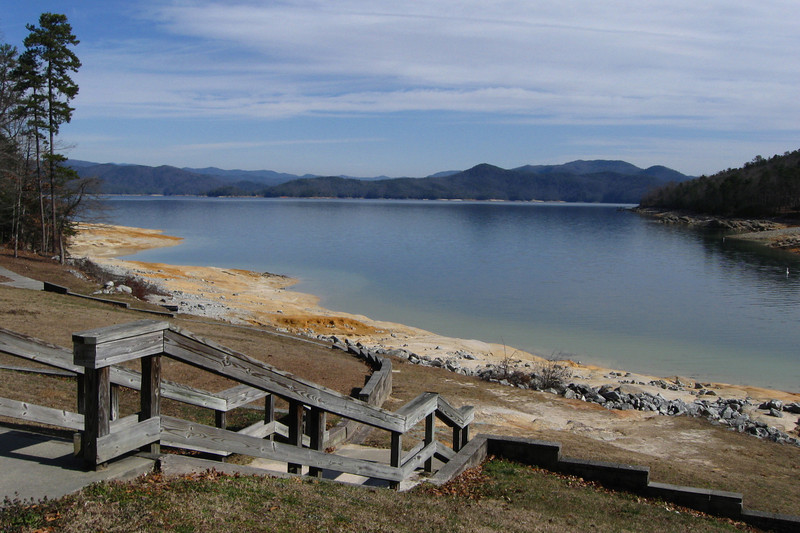 Steps in front of the picnic area would lead to the waters edge if it was the warmer season.  During winter Jocassee, like most other reservoirs, are drawn down in the winter...