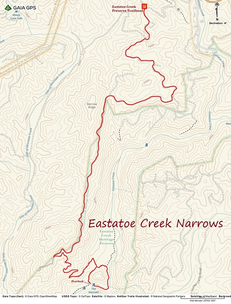 Eastatoe Creek Narrows Hike Route Map