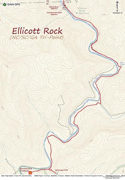 Ellicott Rock Hike Route Map