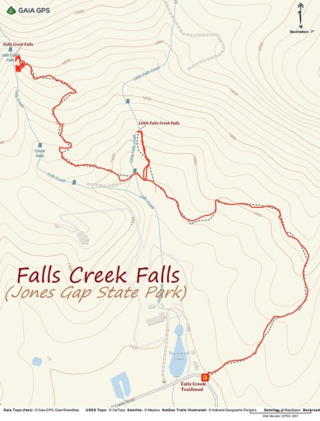Falls Creek Falls Hike Route Map