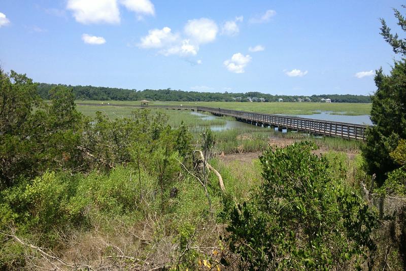 Adjacent to the nature center a huge boardwalk leads out onto the salt marsh...