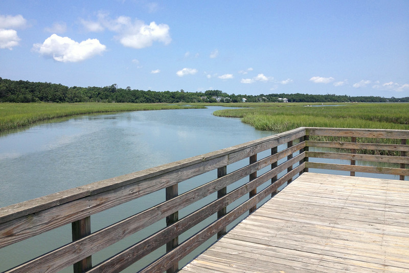 At the end of the boardwalk was a nice observation platform along the waterway which bisects the marsh...