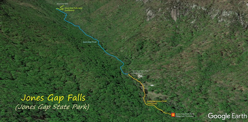Jones Gap Falls Hike Route Map