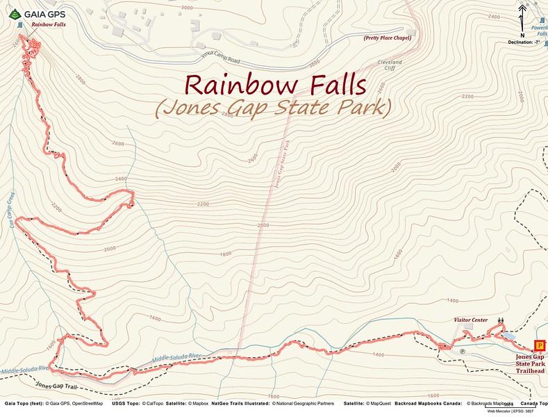 Rainbow Falls (Jones Gap) Hike Route Map