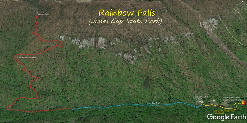 Rainbow Falls (Jones Gap) Hike Route Map
