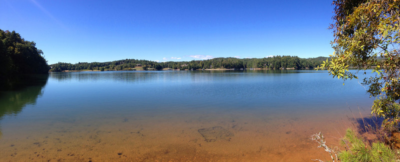 Looking across the clear waters of Keowee from the easternmost point at which the Raven Rock Trail meets the shore...