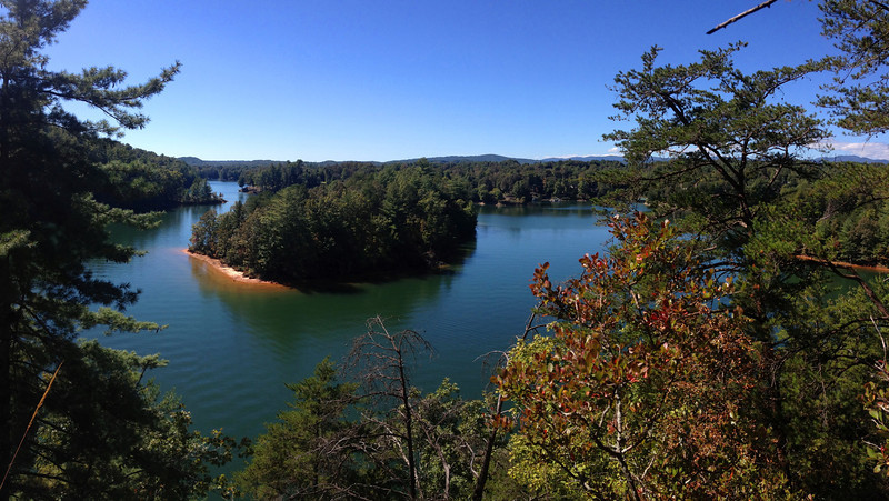 The northern shore of Lake Keowee makes a unique oxbow bend across from Raven Rock...