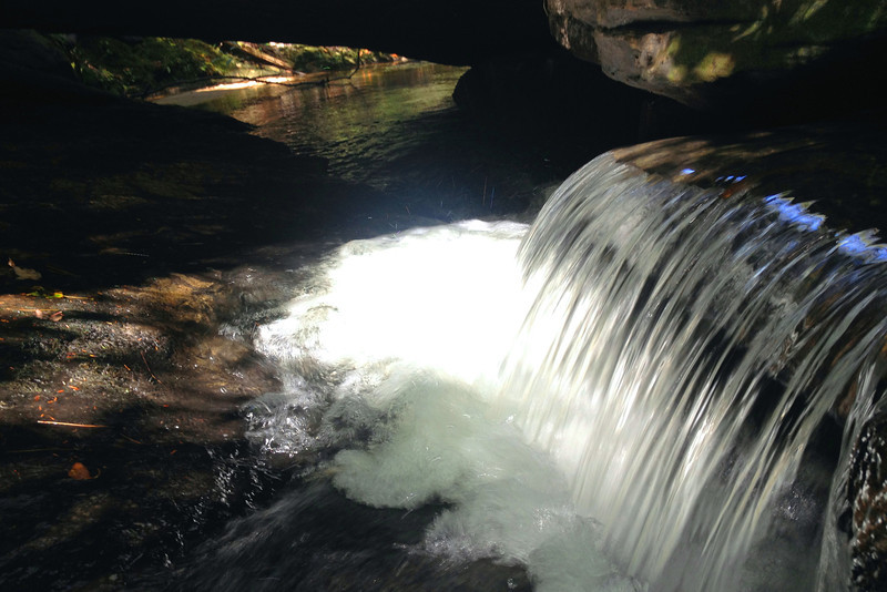 Poe Creek as it cascades underneath the natural bridge...