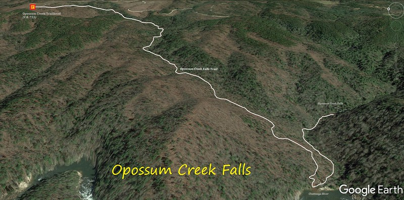 Opossum Creek Falls Hike Route Map