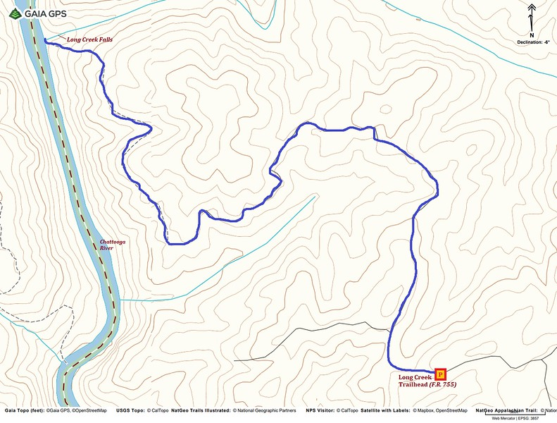 Long Creek Falls Hike Route Map