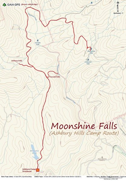 Moonshine Falls Hike Route Map