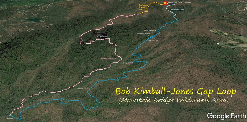 Bill Kimball-Jones Gap Loop Hike Route Map