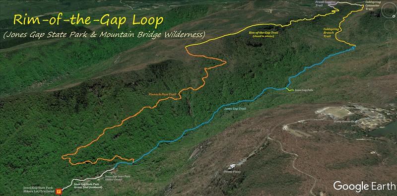 Rim-of-the-Gap Loop Hike Route Map