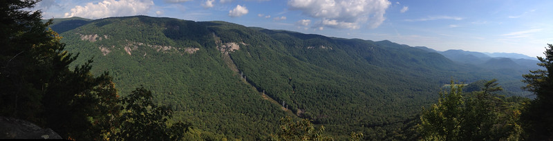 <b>Pinnacle Pass Trail</b> - The incredible panorama of the Blue Ridge Escarpent and Jones gap from the overlook atop Little Pinnacle...