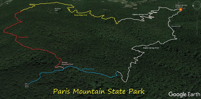 Paris Mountain State Park Hike Route Map