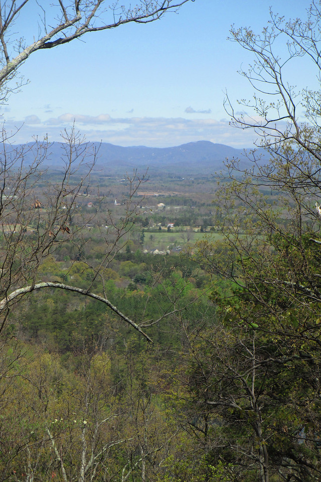 There were frustratingly few openings in the trees to get any kind of a shot of the view.  I had to scramble downhill off the trail a ways to get this shot of the rolling hills and Blue Ridge to the north...