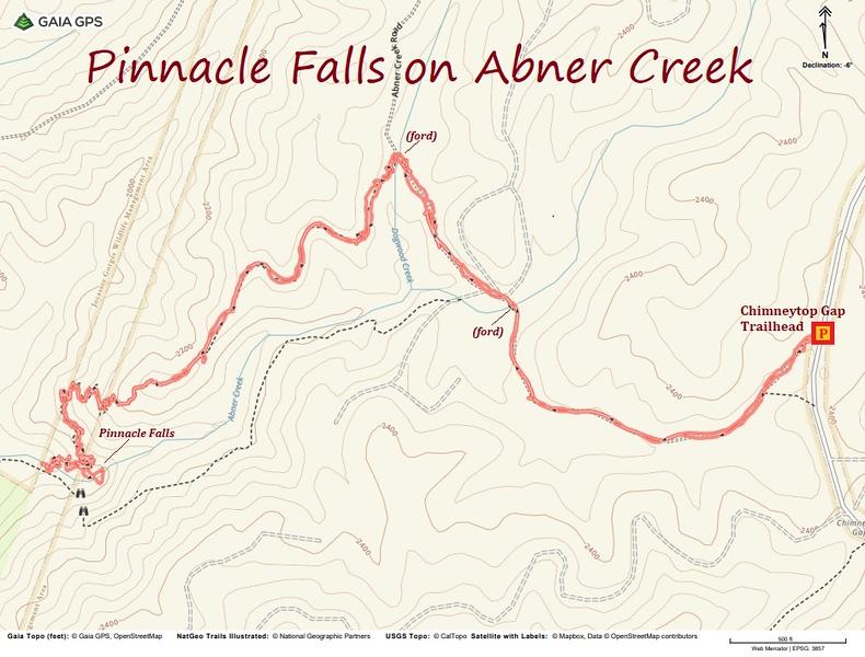 Pinnacle Falls Hike Route Map