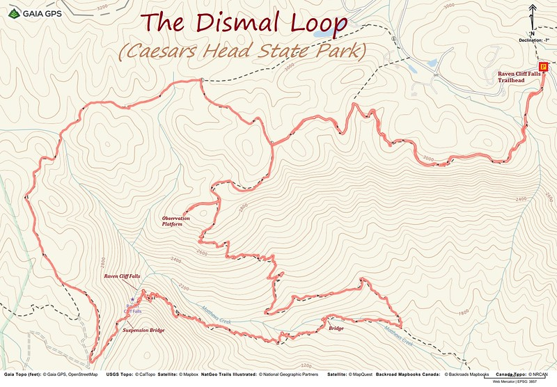 Raven Cliff Falls Loop Hike Route Map