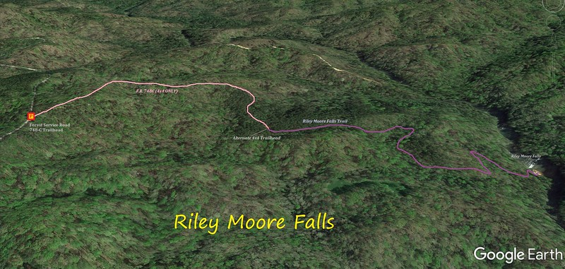 Riley Moore Falls Hike Route Map