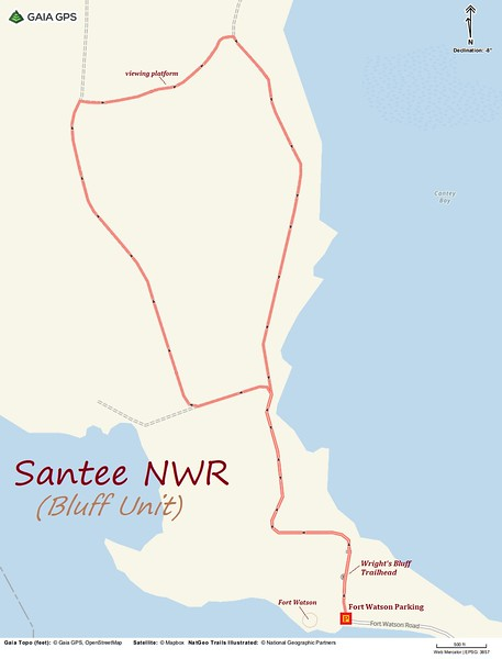 Santee NWR Hike Route Map