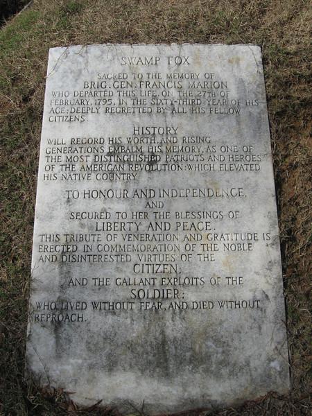 "A plaque honoring the ""Swamp Fox"", Brigadier General Francis Marion..."