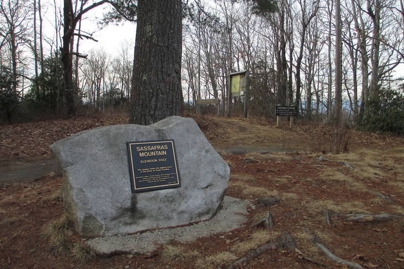 The summit of Sassafras Mountain (3,553')...although South Carolina only owns half the summit, it still qualifies as its High Point...