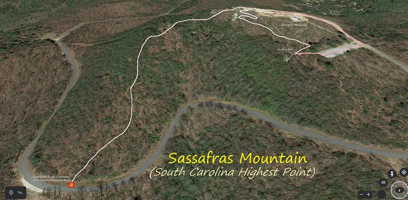 Sassafras Mountain Hike Route Map