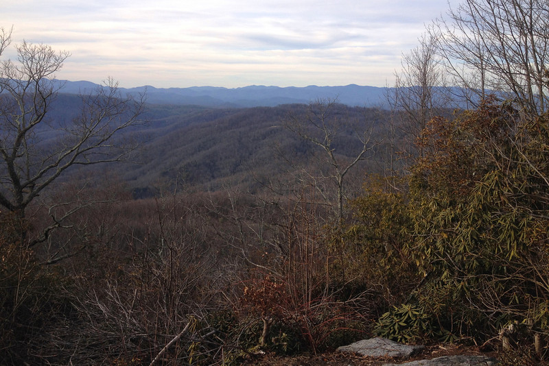 Reaching the ridgetop, a short side path took me out to a small outcrop with a very nice view to the north and west into North Carolina.  The significance of this peak as a state high point is lost somewhat when looking at much higher peaks so nearby...