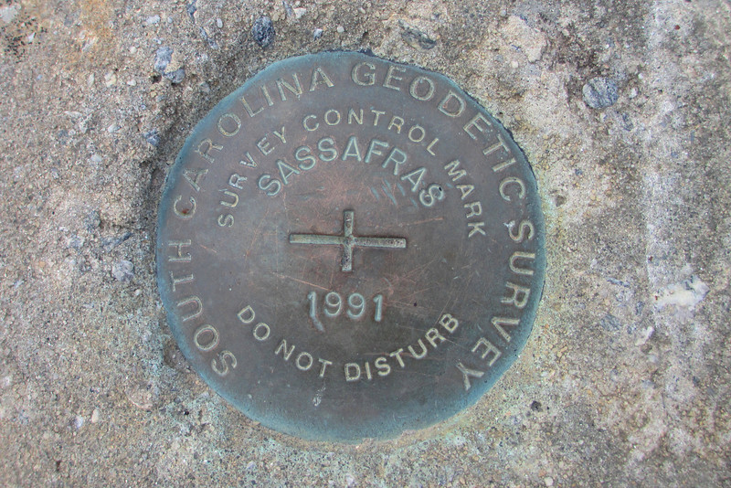 Sassafras Mountain is also home to one of the newest, shiniest USGS benchmarks I've seen anywhere...