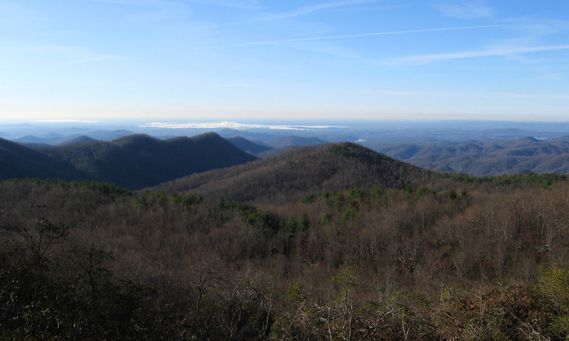 The view of the South Carolina Foothills...the 'clouds' in the distance are actually fog sitting over distant Lake Jocassee...