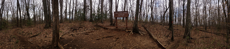 A panorama of the trail as it rounds the summit of Table Rock...