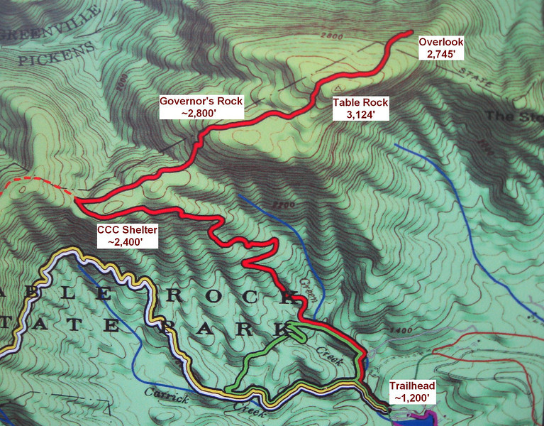 The route map...I'd be following the Table Rock Trail (the red one)...