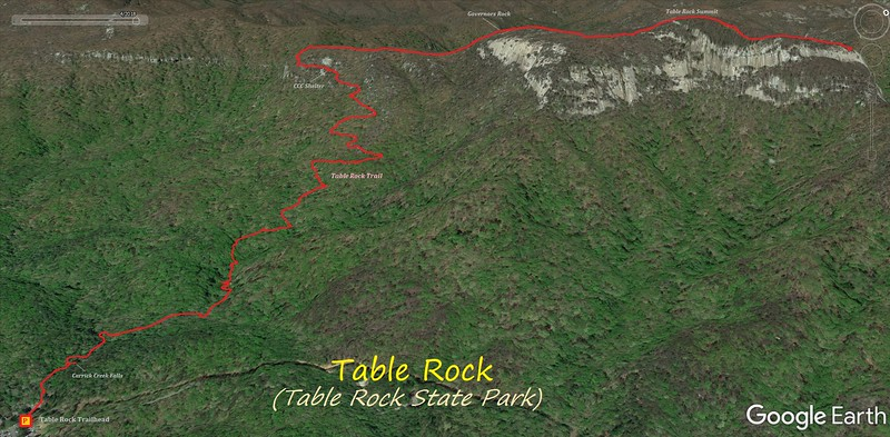 Table Rock Hike Route Map
