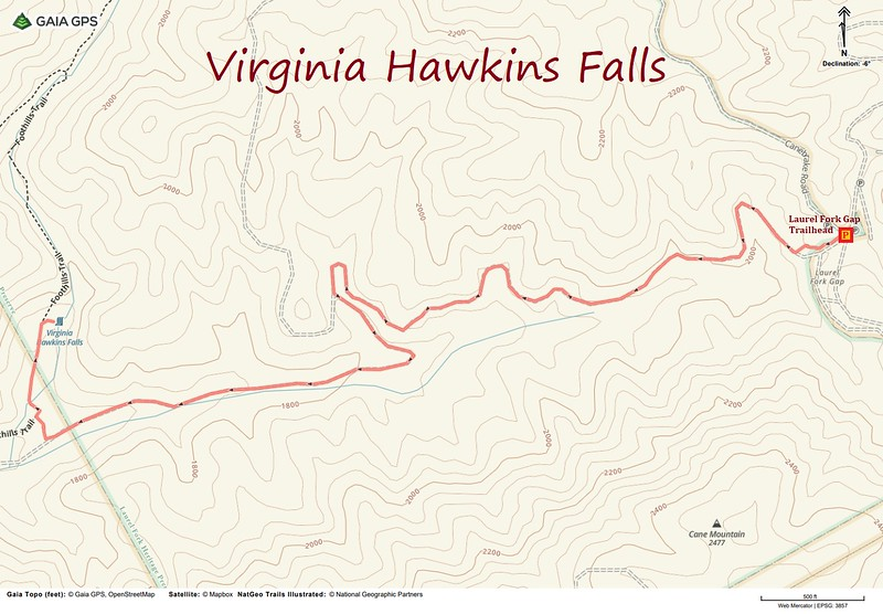 Virginia Hawkins Falls Hike Route Map