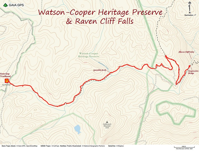 Watson-Cooper Heritage Preserve to Raven Cliff Falls Hike Route Map