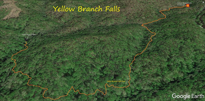 Yellow Branch Falls Hike Route Map