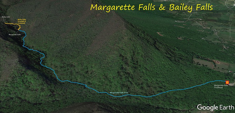 Margarette & Bailey Falls Hike Route Map