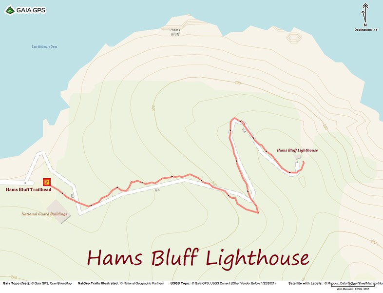 Hams Bluff Lighthouse Hike Route Map