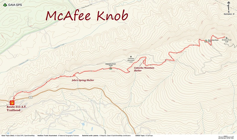 McAfee Knob Hike Route Map