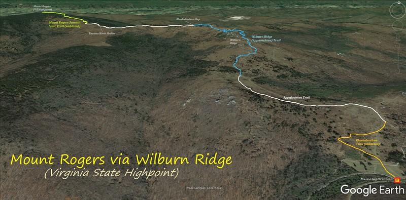 Mount Rogers/Wilburn Ridge Hike Route Map